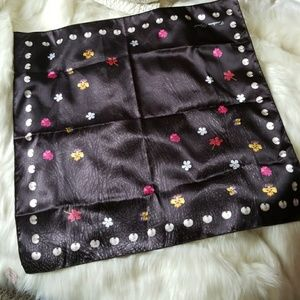 Nwt Large Leather Studded Print Satin Scarf